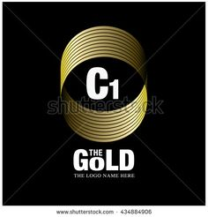 Vector graphic elegant gold logo and font . Symbol of money and business. Letter C and 1