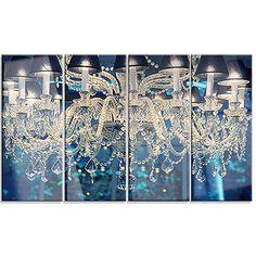 DesignArt 'Blue Vintage Crystal Chandelier' 4 Piece Graphic Art on Wrapped Canvas Set