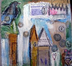 Many Layered Piece by Sue Pelletier: Mixed Media Art