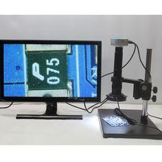 1080P HDMI USB Industrial Digital Microscope Camera+Optical 10X-300X C-mount Lens+Adjustable LED lights+Large Base Bracket