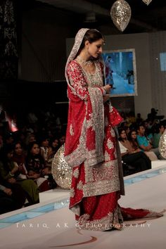 $320  Hot Red and Elegant Bridal Dress on Discount Pakistani Wedding Outfits, Pakistani Bridal, Pakistani Dresses, Indian Bridal, Asian Bridal Dresses, Bridal Outfits, Expensive Dresses, Desi Wear, Bridal Style