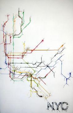 Pin and Thread Illustrations Debbie Smyth 10 Art Textile, Textile Artists, Web Design, Graphic Design, Textiles, Art Fil, Subway Map, Nyc Subway, Metro Map