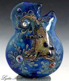 Blue Suede Shoes Lampwork Focal Bead