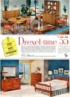 Drexel Furniture Biscayne New Cherry Highlands Mid Century Modern 1955 Print Ad | eBay