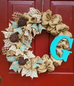 """Custom Handmade Aqua Blue Burlap Initial Ribbon Wreath 18"""""""