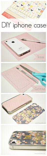 DIY iphone case - (don't have iphone but it's a great idea...)