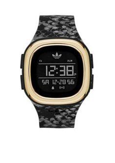 adidas  Originals Denver Mens Black Snake Designed Silicone Three Hand Watch
