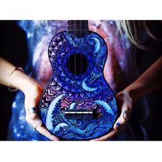 Painted Ukulele- by Salty Hippie Arte Do Ukulele, Ukulele Chords, Luna Ukulele, Guitar Painting, Guitar Art, Painted Ukulele, Painted Guitars, Sharpie Designs, Ukulele Design