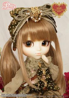 Popular ''BABY, THE STARS SHINE BRIGHT x MISAKO AOKI x Pullip'', In a New Appears!!  / Accessories: Headdress, Apron, Doll Stand / Set Contents: Headdress, Blouse, Jumper-Skirt, Apron, Tights, Shoes / Feeling:Smell like Sweet Chocolate.....Decoration on Ribbon clothes becomes the Princess of the Cake Island...Feel Like So. / - One of the famous Japanese Outfit Brand's ''BABY, THE STARS SHINE BRIGHT'' with Misako Aoki & Midori Fukasaku presents models of Pullip are new appears of new color.