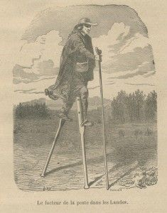 "Bâton landais, The stilts were useable with a third stick, ""poverty"" or ""tchanquey."" This allows the shepherd to stand or get off and on, because he must climb to reach the stirrups where he puts his feet. This staff provides balance for the walker while moving. Finally, the stick is provided with an enlarged upper portion that allows the shepherd to sit and rest, forming a tripod."