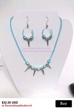 Spike Necklace, Blue Cats Eye Necklace & Earrings, Blue Punk Rocker, Spike Jewelry, Fiber Optic Beads, Girly Punk, Rocke