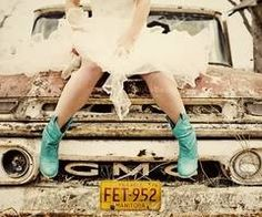Trucks + boots + gal = stampede (turquoise being the 'it' color)