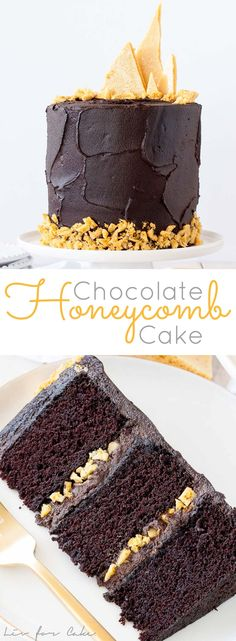 The ultimate dark chocolate cake, layered with a rich fudge frosting and homemade honeycomb. | livforcake.com via @livforcake