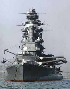 The Imperial Japanese Navy in the colors. The battleship Mutsu in Kagoshima's Bay in 1941