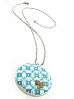 Mod Podge gold beaded fabric pendant