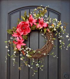 This Spring Wreath Summer Wreath Floral White Branches Door Wreath Grapevine Wreath Decor-Pink Lilies-Pink Peony Wispy Easter-Mothers Day is just one of the custom, handmade pieces you'll find in our wreaths shops.
