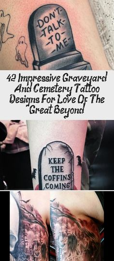 42 Impressive Graveyard And Cemetery Tattoo Designs For Love Of The Great Beyond Hamsa Tattoo Design, Forearm Tattoo Design, Forearm Tattoos, Tombstone Tattoo, Graveyard Tattoo, Tattoo Designs For Girls, Flower Tattoo Designs, Ankle Tattoo Men, Spooky Tattoos