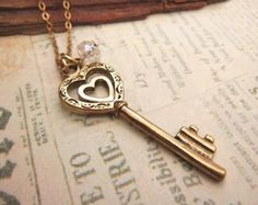Heart Key Necklace with crystal accent