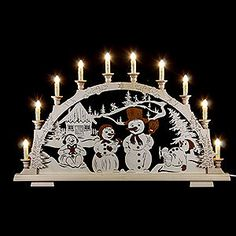 Candle arch snow man family - 65x45cm / 25.5x17inch