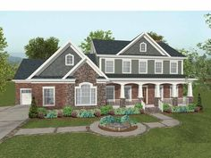 Craftsman House Plan with 2697 Square Feet and 4 Bedrooms from Dream Home Source | House Plan Code DHSW69037