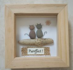 Pebble Art framed Picture Cats di Jewlls4u su Etsy