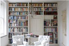 floor to ceiling book shelves.