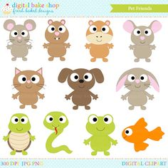 animals clipart pets digital clip art dog cat snake hamster frog turtle bunny chinchilla mouse guinea - Pet Friends Clipart by DigitalBakeShop on Etsy https://www.etsy.com/listing/80515853/animals-clipart-pets-digital-clip-art