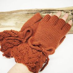 Half Finger Fingerless Mittens Gloves Pure Wool by ShooglyBeads