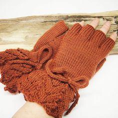 Half Finger Fingerless Mittens Gloves Pure Wool by ShooglyBeads