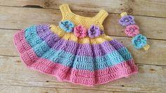 Baby Dress and Headband Spring Baby Girl Dress Pink Baby Baby Girl Crochet, Crochet Baby Clothes, Cute Crochet, Crochet For Kids, Crochet Lace, Crochet Designs, Baby Knitting, Baby Dress, Girls Dresses