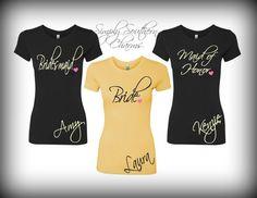 7 Bridal Party T-Shirts, Wedding and Bridal Party Shirts, Bachelorette Shirts, Bridesmaid Shirt, Honeymoon Shirt on Etsy, $154.00