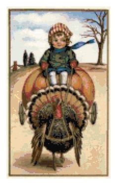 Vintage Thanksgiving Holiday Counted Cross Stitch Pattern Printable, Instant Download PDF