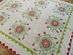 Early Antique Applique Red and Green Whig Rose Quilt Wear | eBay, vintageblessings