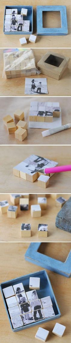 28 Creative Handmade Photo Crafts with Tutorials Photo Puzzle Blocks. These photo puzzle blocks serve as a great visual reminder of the one you love. Cool DIY gift ideas for Father's Day, Mother's Day and more. Diy Photo, Photo Craft, Photo Ideas, Picture Ideas, Kids Crafts, Diy And Crafts, Craft Projects, Photo Projects, Baby Crafts