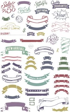Colorful vintage ribbons vector | Vector Graphics & Vector Illustrations
