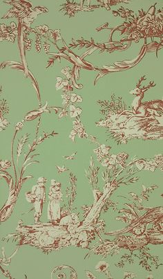 Paysannerie Toile Wallpaper from Thibaut. A scenic toile wallpaper with farm workers, pheasants, stags and dogs amongst swirling foliage in red on green. Interior Design Advice, Interior Design Living Room, Toile Bedding, Decoupage, Toile Wallpaper, Chinoiserie Wallpaper, Mosaic Tile Art, Hanging Pictures, Shabby Vintage