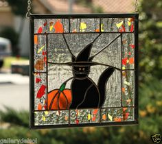 Halloween Cat Stained Glass Window Panel with Black Cat in Witch Hat