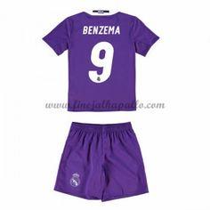 Real Madrid Lasten Jalkapallo Pelipaidat 2016-17 Benzema 9 Vieraspaita