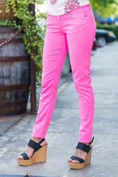 Bright Start Skinny Jeans, Neon Pink