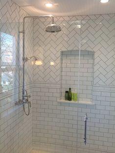 subway with herringbone inset shower- safety rails White Tile Shower, White Subway Tile Bathroom, Subway Tile Showers, Bathroom Niche, Shower Niche, Master Shower, Bathroom Flooring, Master Bathroom, Bathroom Tile Designs