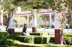 enjoying the beautiful gardens of the villa
