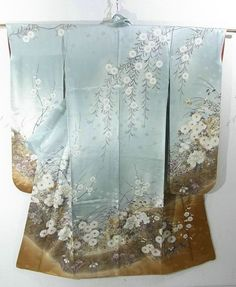 This is an elegant Furisode Kimono with flowers such as 'Botan'(peony), 'Kiku'(chrysanthemum) and autumn flowers pattern, which is dyed