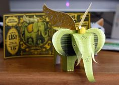 free printable winged elephant 3d animal craft