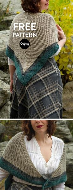 Whether dreaming of highland misty crags or out for an autumn stroll, wrap up in this generous shawl. Simple and rustic - the best recipe for lazy fireside knitting. Worked bottom up in garter stitch with colour blocking and an optional antler button.