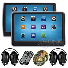 2 x Sonic Audio HR10CT  Universal TouchScreen 101 TabletStyle ClipOn Headrest DVD PlayerScreen with USBSD and Wireless Infrared Headphones  PlugandPlay RearSeat Entertainment System >>> You can find out more details at the link of the image. (Note:Amazon affiliate link) #ElectronicGadgets