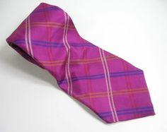 NAUTICA-Bright-Pink-Plaid-NECK-TIE-100-SILK-Mens-Necktie-Holiday-Blue-White