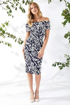 Genevive Floral Bardot Navy White Dress Navy And White Dress, Spring Summer 2018, Types Of Sleeves, Fabric, Pattern, Dresses, Fashion, Party Dresses, Vestidos