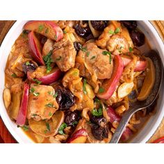 Spanish chicken with sherry and prunes recipe - By Good Food