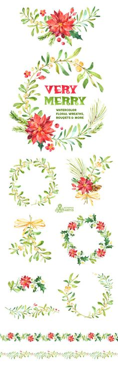 Very Merry. Watercolor Wreaths Bouquets Borders by OctopusArtis