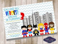 SUPERHERO PARTY Invitation Printable by TweetPartyBoutique on Etsy